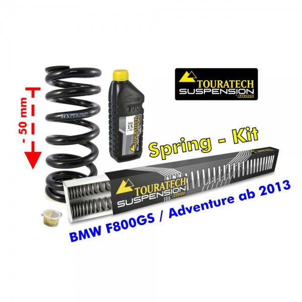 Touratech Height lowering kit -50 mm for BMW F800GS/Adventure *from 2013**replacement springs*