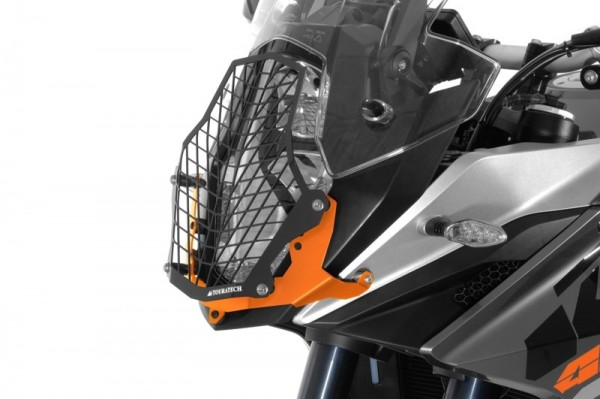 371-5096 Stainless steel black headlight protector, orange bracket, for KTM 1050/1090/1190/1290