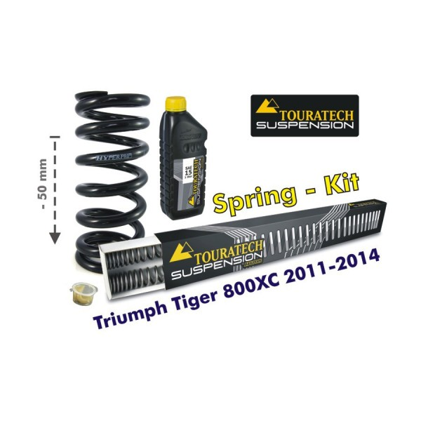 Touratech Height lowering kit, 50mm, for Triumph Tiger 800XC 2011-2015 *replacement springs*