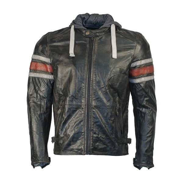 RICHA Toulon Mens Leather Jacket - Red Stripes