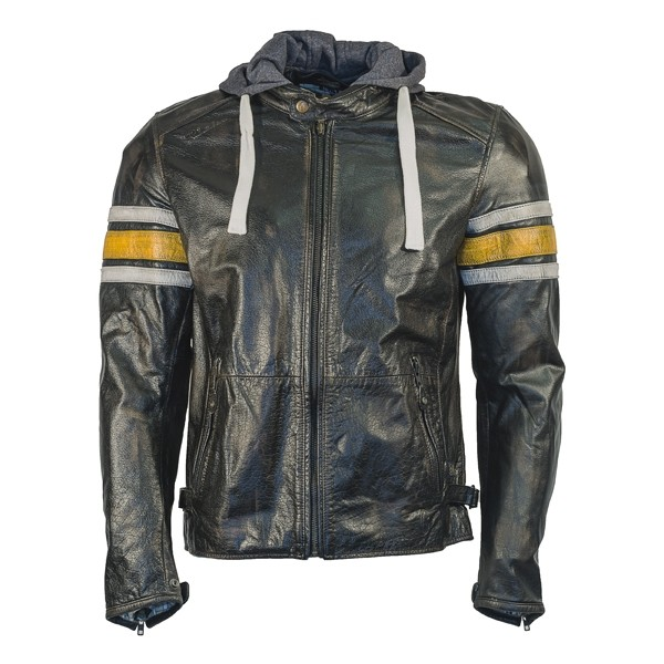 RICHA Toulon Mens Leather Jacket - Yellow Stripes