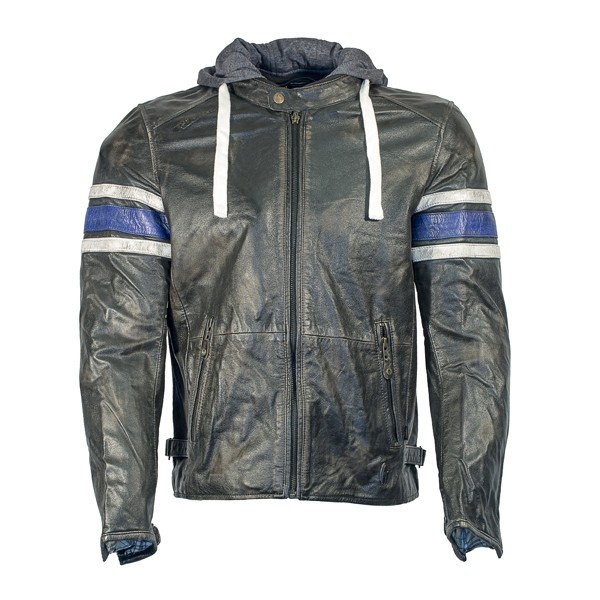 RICHA Toulon Mens Leather Jacket - Blue Stripes