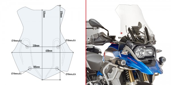 Givi 5124DT Specific Screen for BMW R1200GS/GSA 2016 on & R1250GS/GSA