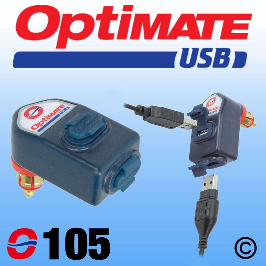 O105 OptiMate Dual USB Charger 3300mA - DIN Plug
