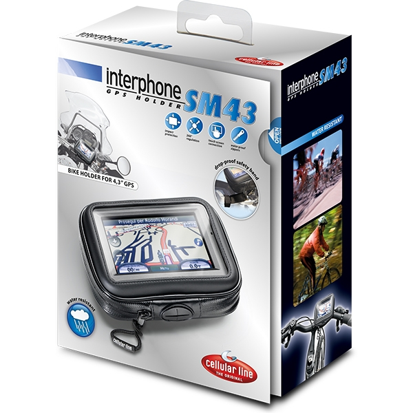 "Interphone SM43 GPS 4.3"" Holder for TUBULAR Bars"