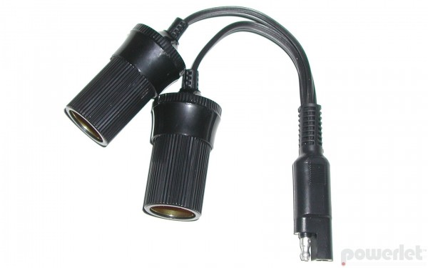 Powerlet SAE Y-Cable To Dual Cigarette Socket